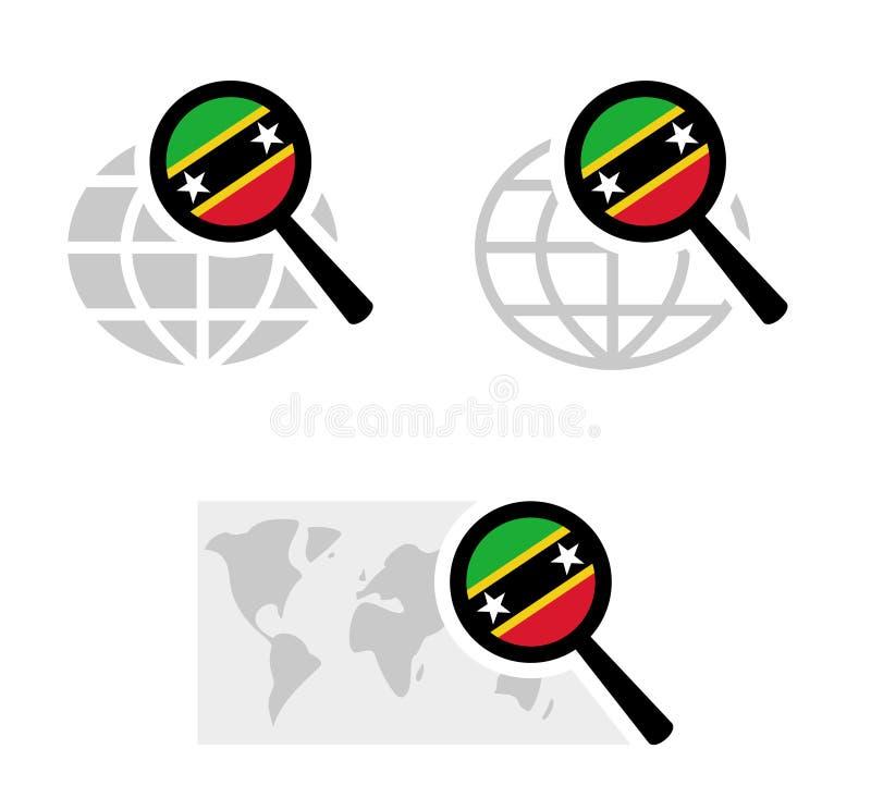 Εικονίδια αναζήτησης με τη σημαία του St Kitts and Nevis απεικόνιση αποθεμάτων