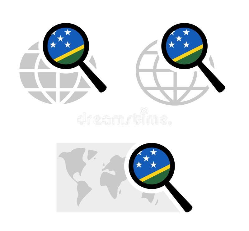 Εικονίδια αναζήτησης με τη σημαία των νήσων του Σολομώντος διανυσματική απεικόνιση