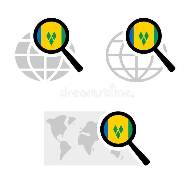 Εικονίδια αναζήτησης με τη σημαία των Σαιντ Βίνσεντ και Γκρεναντίν διανυσματική απεικόνιση