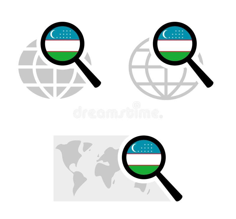 Εικονίδια αναζήτησης με τη σημαία uzbekistani απεικόνιση αποθεμάτων