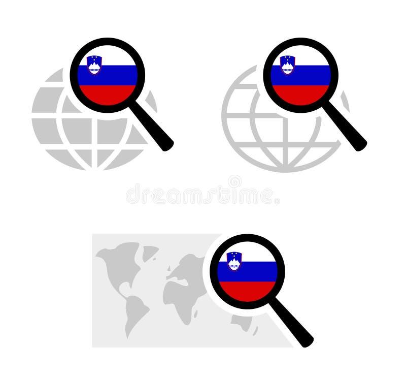 Εικονίδια αναζήτησης με τη σλοβένικη σημαία απεικόνιση αποθεμάτων