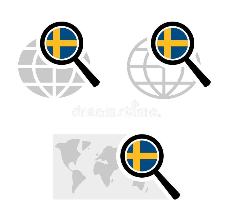 Εικονίδια αναζήτησης με τη σουηδική σημαία απεικόνιση αποθεμάτων