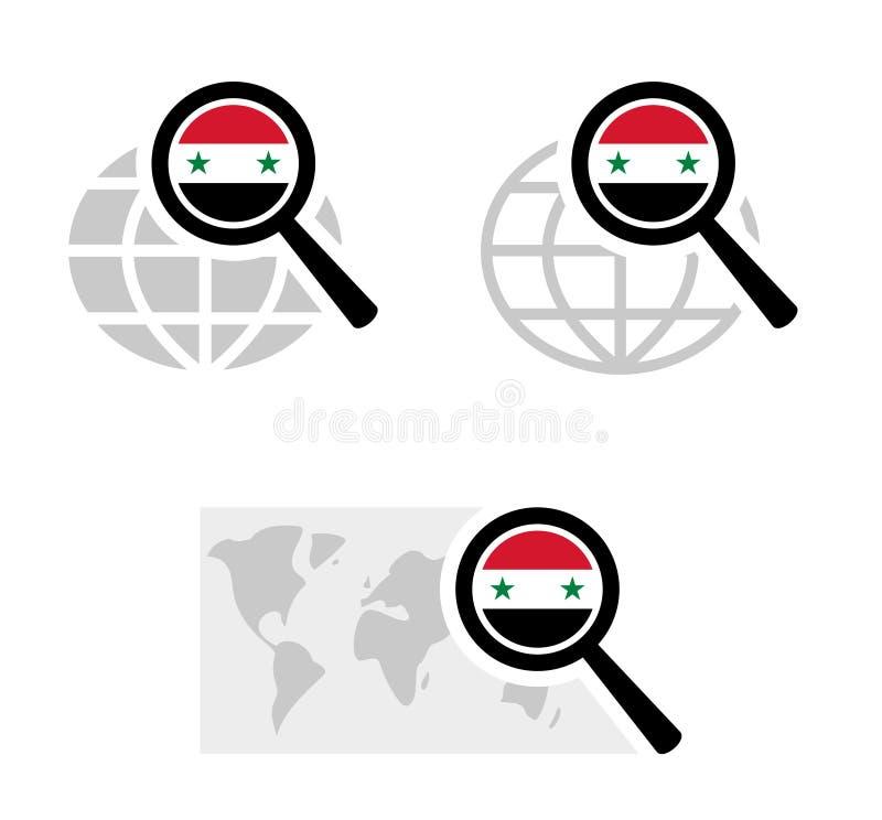 Εικονίδια αναζήτησης με τη συριακή σημαία διανυσματική απεικόνιση