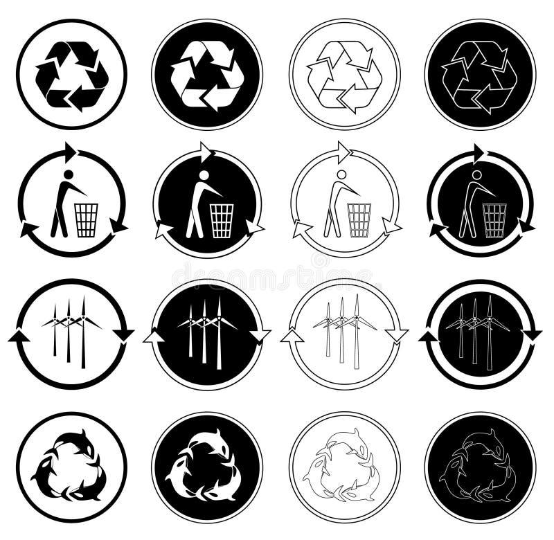 εικονίδια ανακύκλωσης απεικόνιση αποθεμάτων
