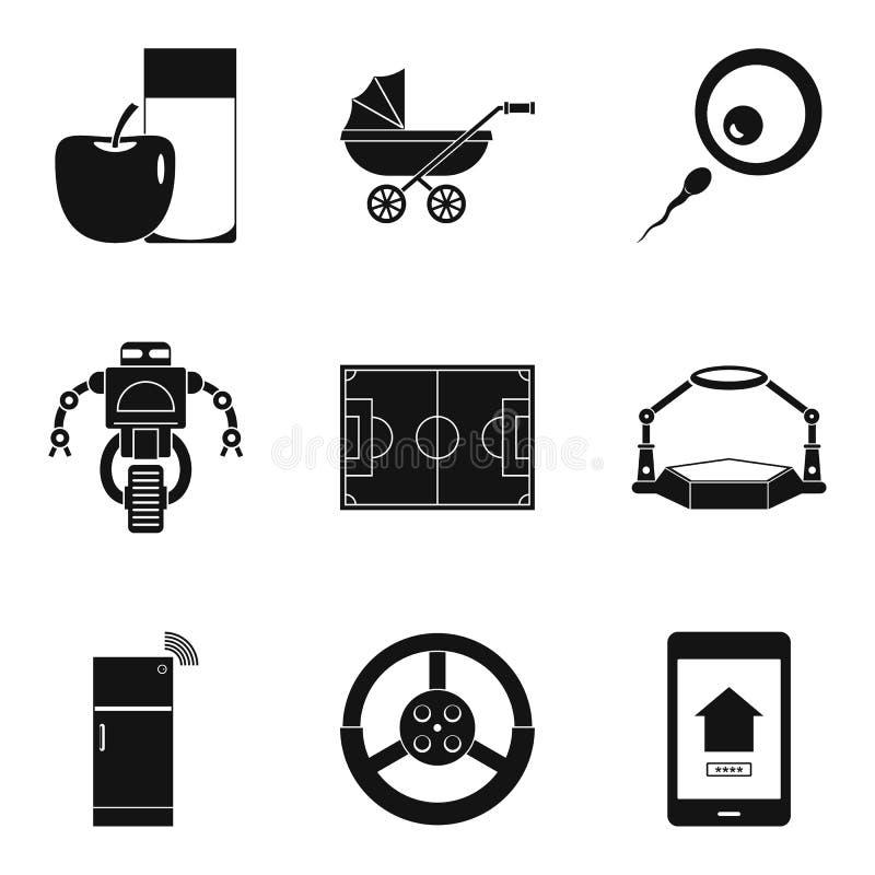 Εικονίδια αναπροσαρμογών συστημάτων καθορισμένα, απλό ύφος διανυσματική απεικόνιση