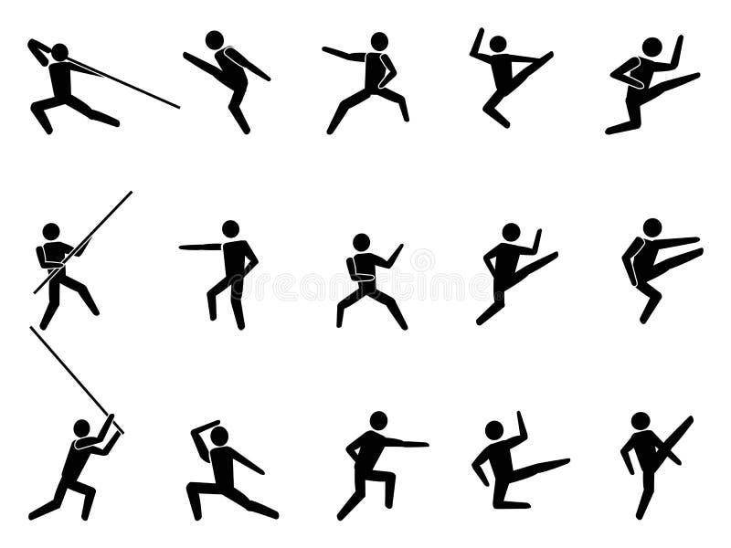 Εικονίδια ανθρώπων συμβόλων πολεμικών τεχνών διανυσματική απεικόνιση