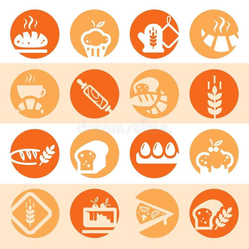 Εικονίδια αρτοποιείων χρώματος απεικόνιση αποθεμάτων