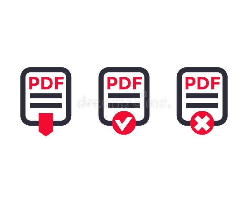 Εικονίδια αρχείων PDF στο λευκό ελεύθερη απεικόνιση δικαιώματος