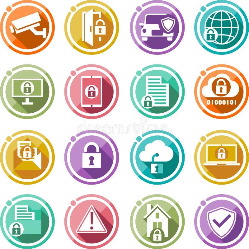 Εικονίδια ασφάλειας καθορισμένα Επίπεδα εικονίδια για την τεχνολογία επιχειρησιακής προστασίας δεδομένων και την ασφάλεια δικτύων απεικόνιση αποθεμάτων