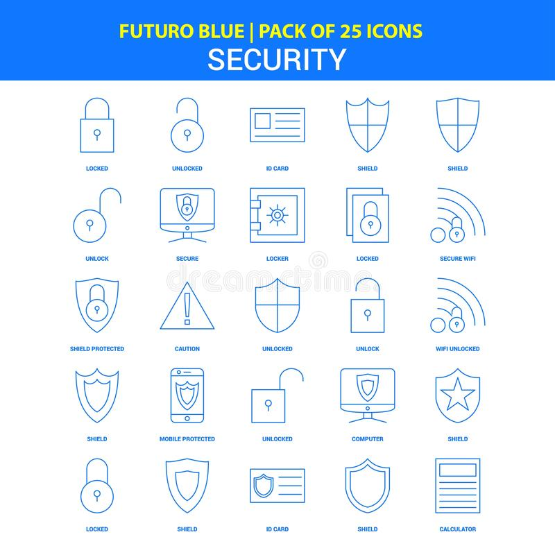 Εικονίδια ασφάλειας - μπλε πακέτο 25 εικονιδίων Futuro διανυσματική απεικόνιση