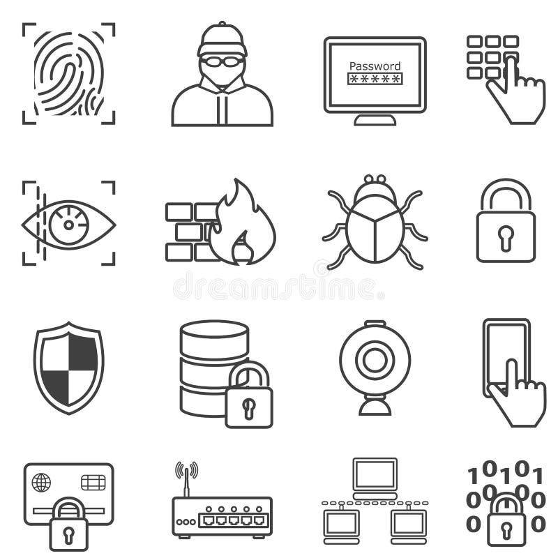 Εικονίδια ασφάλειας, προστασίας δεδομένων, χάκερ και malware γραμμών Cyber απεικόνιση αποθεμάτων