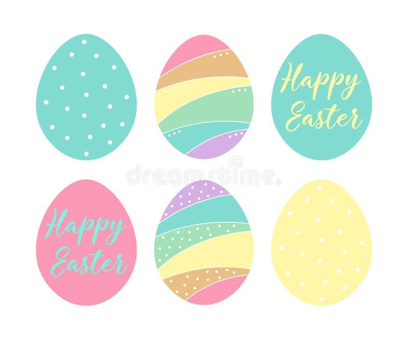 Εικονίδια αυγών Πάσχας επίσης corel σύρετε το διάνυσμα απεικόνισης Συλλογή που απομονώνεται στο άσπρο υπόβαθρο E ελεύθερη απεικόνιση δικαιώματος