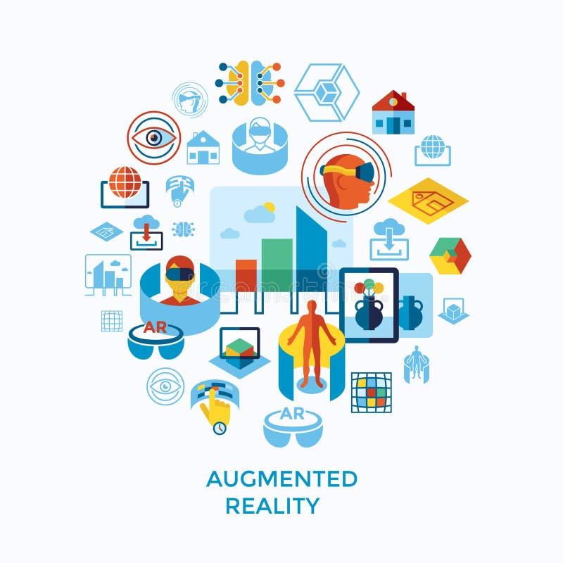 Εικονίδια αυξημένης και εικονικής πραγματικότητας καθορισμένα ελεύθερη απεικόνιση δικαιώματος