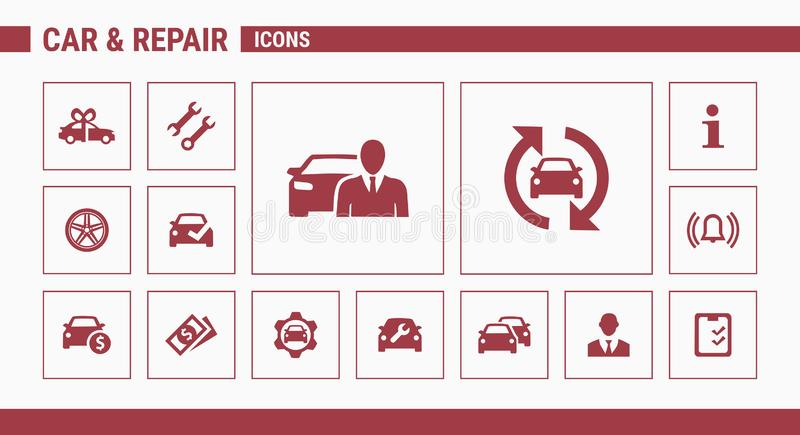 Εικονίδια αυτοκινήτων & επισκευής - καθορισμένος Ιστός & κινητά 01 διανυσματική απεικόνιση