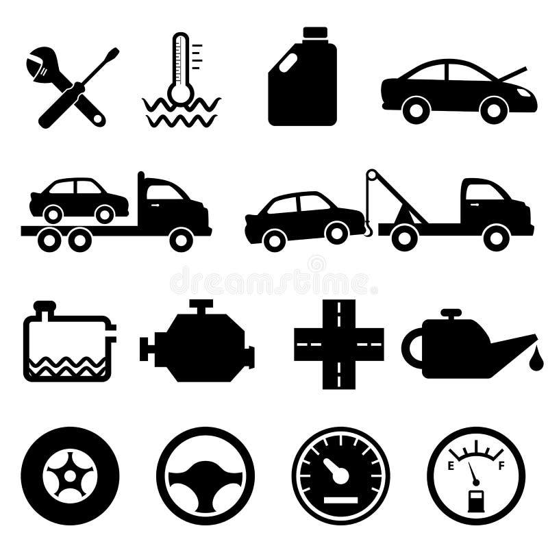 Εικονίδια αυτοκινήτων, μηχανικών και συντήρησης ελεύθερη απεικόνιση δικαιώματος
