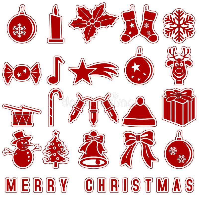 Εικονίδια αυτοκόλλητων ετικεττών Χριστουγέννων ελεύθερη απεικόνιση δικαιώματος
