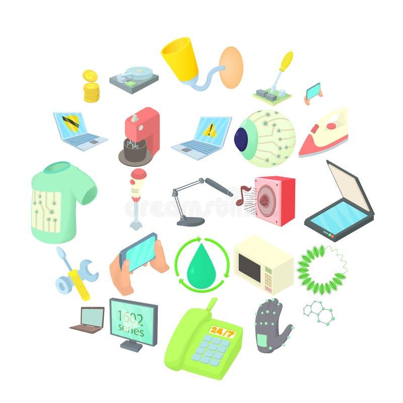 Εικονίδια αυτονομίας καθορισμένα, ύφος κινούμενων σχεδίων ελεύθερη απεικόνιση δικαιώματος