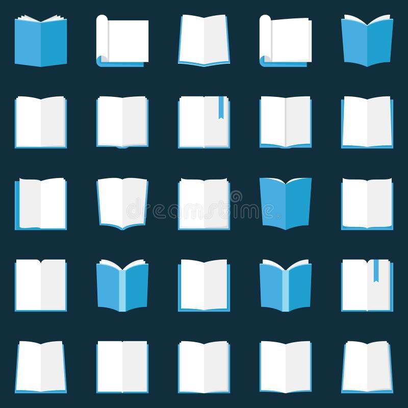 Εικονίδια βιβλίων καθορισμένα - διανυσματικά επίπεδα ανοικτά σύμβολα εκπαίδευσης βιβλίων ελεύθερη απεικόνιση δικαιώματος