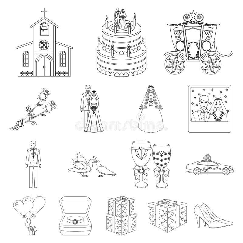 Εικονίδια γάμου και περιλήψεων ιδιοτήτων στην καθορισμένη συλλογή διανυσματική απεικόνιση