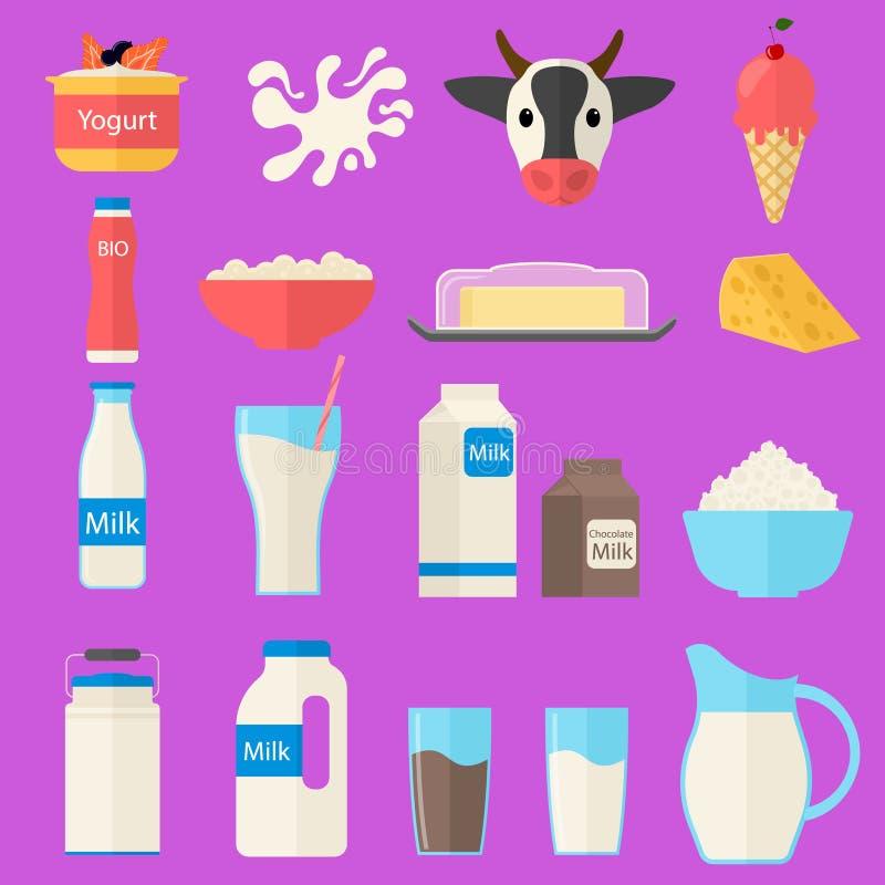 Εικονίδια γαλακτοκομικών προϊόντων χρώματος κινούμενων σχεδίων καθορισμένα διάνυσμα διανυσματική απεικόνιση