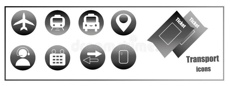 Εικονίδια για την αγορά των σε απευθείας σύνδεση εισιτηρίων για τη μεταφορά Κουμπιά ιστοχώρου ελεύθερη απεικόνιση δικαιώματος