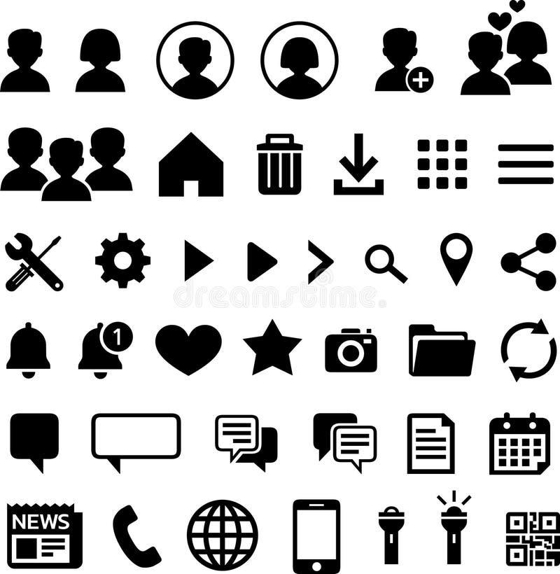 40 εικονίδια για τις κινητές εφαρμογές διανυσματική απεικόνιση