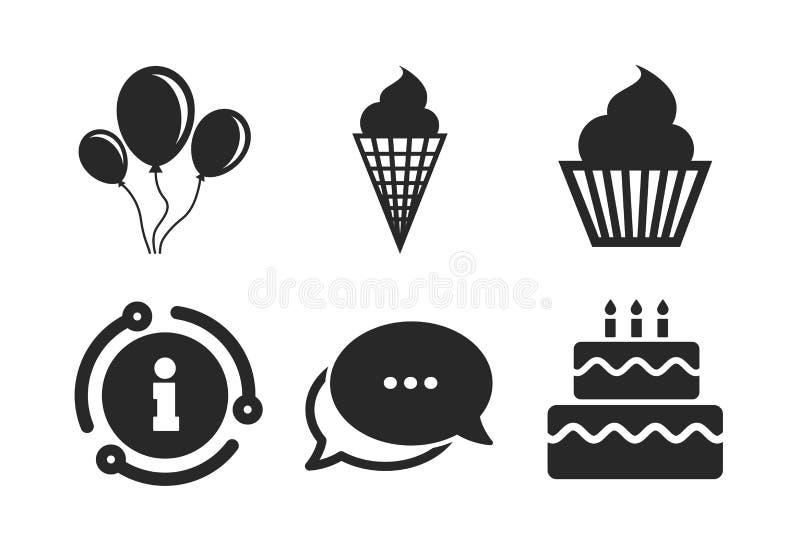 Εικονίδια γιορτής γενεθλίων Κέικ με το σύμβολο παγωτού r απεικόνιση αποθεμάτων