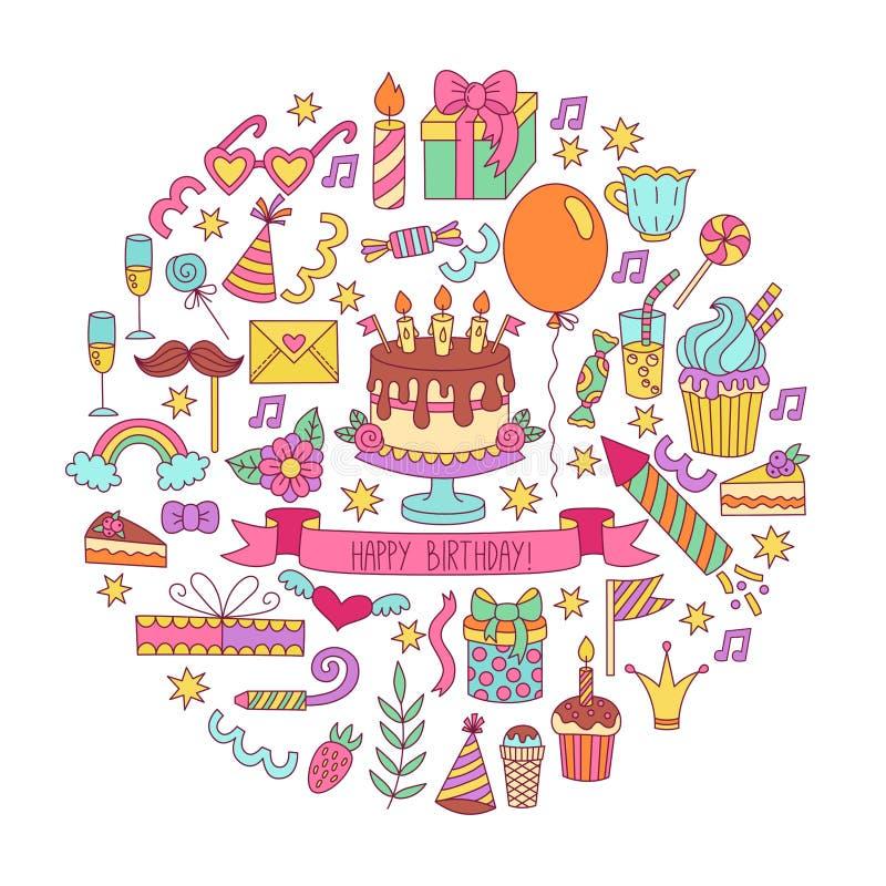 Εικονίδια γιορτής γενεθλίων doodle καθορισμένα απεικόνιση αποθεμάτων