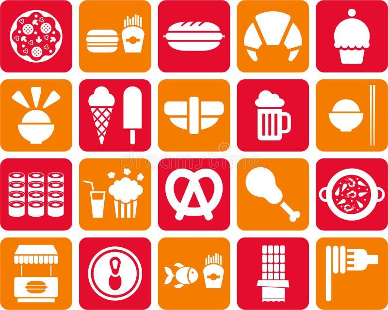 Εικονίδια γρήγορου φαγητού διανυσματική απεικόνιση