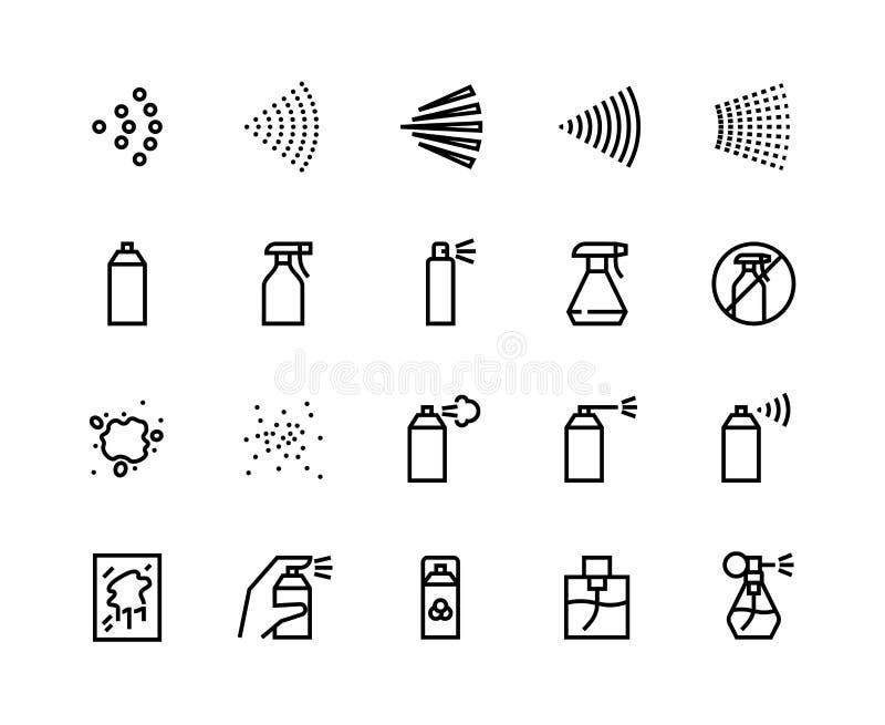 Εικονίδια γραμμής ψεκασμού Δοχείο με αερολύματα καθαρισμού, περίγραμμα με ψεκαστήρες, αποσμητικό απολυμαντικών και αρώματα Διάνυσ απεικόνιση αποθεμάτων
