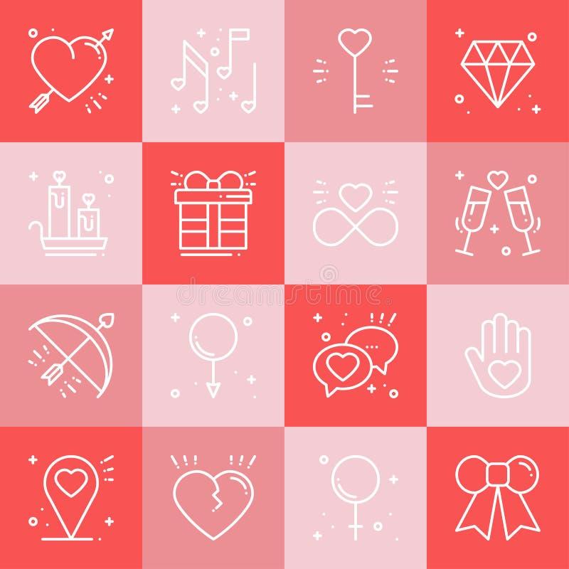 Εικονίδια γραμμών αγάπης καθορισμένα Ευτυχή σημάδια και σύμβολα ημέρας βαλεντίνων Αγάπη, ζεύγος, σχέση, χρονολόγηση, γάμος, διακο διανυσματική απεικόνιση