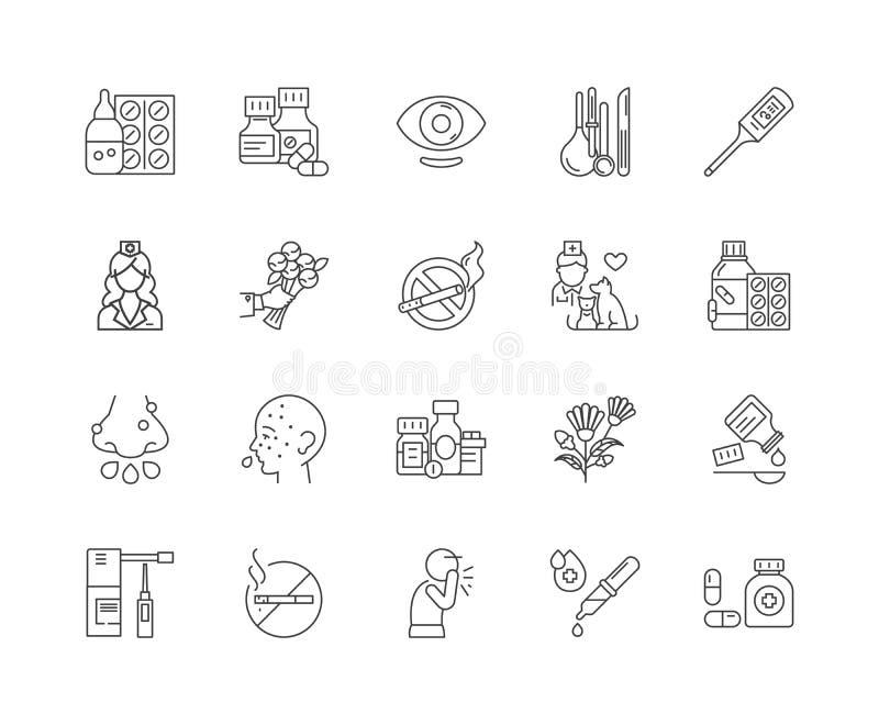 Εικονίδια γραμμών αλλεργίας, σημάδια, διανυσματικό σύνολο, έννοια απεικόνισης περιλήψεων απεικόνιση αποθεμάτων