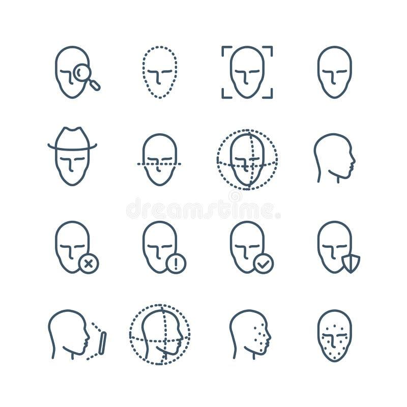 Εικονίδια γραμμών αναγνώρισης προσώπου Η ανίχνευση βιομετρικής προσώπων, του προσώπου ανίχνευση και ξεκλειδώνει τα διανυσματικά ε διανυσματική απεικόνιση