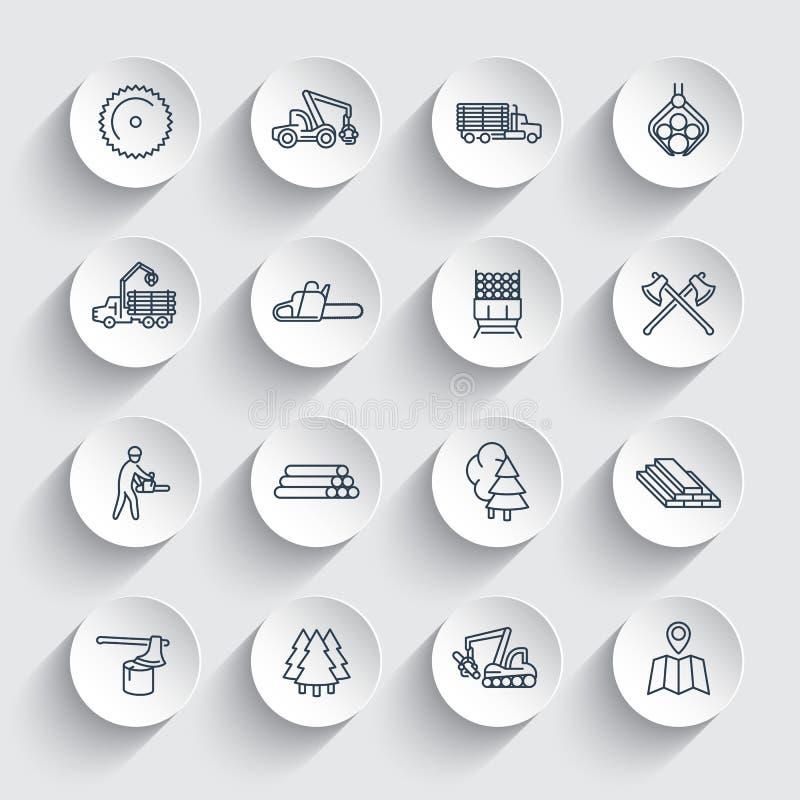 Εικονίδια γραμμών αναγραφών, πριονιστήριο, εξοπλισμός δασονομίας απεικόνιση αποθεμάτων