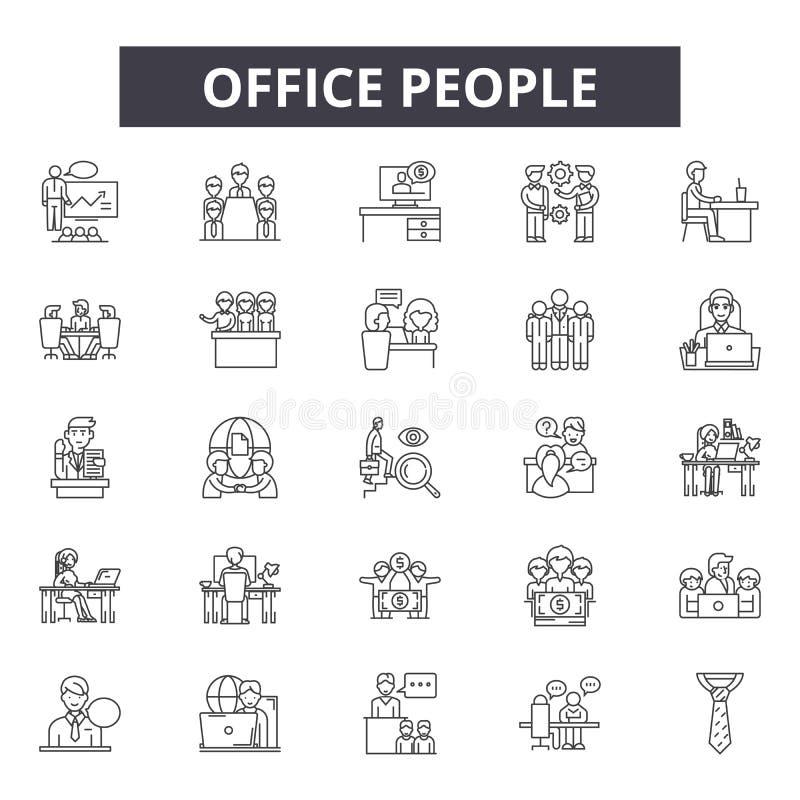 Εικονίδια γραμμών ανθρώπων γραφείων, σημάδια, διανυσματικό σύνολο, έννοια απεικόνισης περιλήψεων απεικόνιση αποθεμάτων