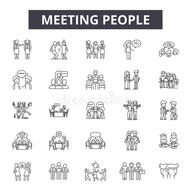 Εικονίδια γραμμών ανθρώπων συνεδρίασης, σημάδια, διανυσματικό σύνολο, έννοια απεικόνισης περιλήψεων διανυσματική απεικόνιση