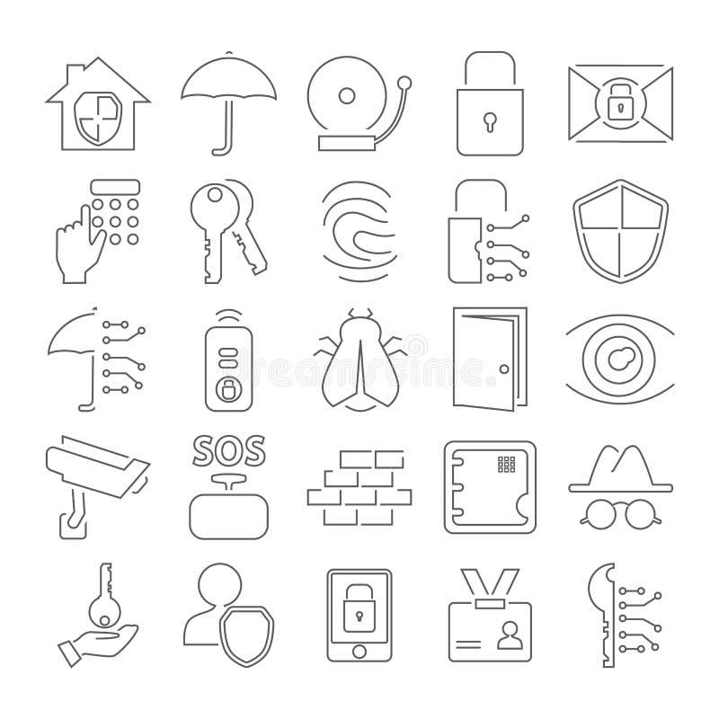 Εικονίδια γραμμών ασφαλείας που τίθενται για τον Ιστό και το κινητό σχέδιο ελεύθερη απεικόνιση δικαιώματος