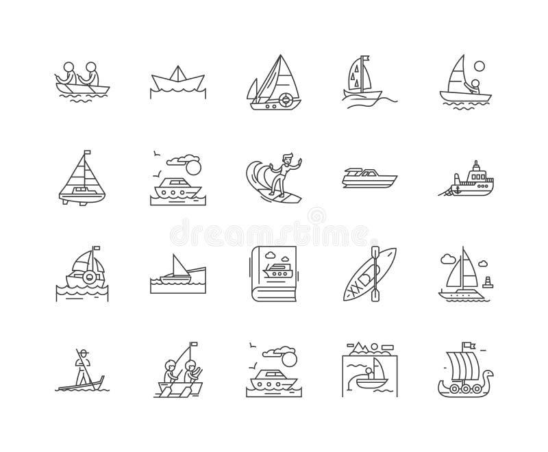 Εικονίδια γραμμών βαρκών, σημάδια, διανυσματικό σύνολο, έννοια απεικόνισης περιλήψεων απεικόνιση αποθεμάτων