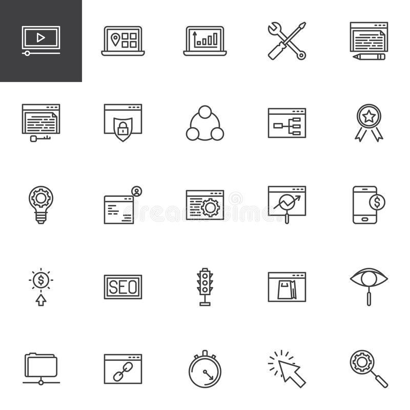 Εικονίδια γραμμών βελτιστοποίησης μηχανών αναζήτησης καθορισμένα ελεύθερη απεικόνιση δικαιώματος