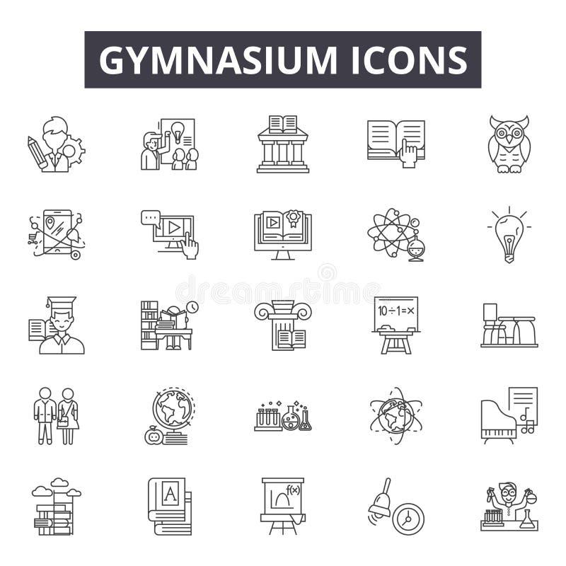 Εικονίδια γραμμών γυμνασίων, σημάδια, διανυσματικό σύνολο, έννοια απεικόνισης περιλήψεων απεικόνιση αποθεμάτων