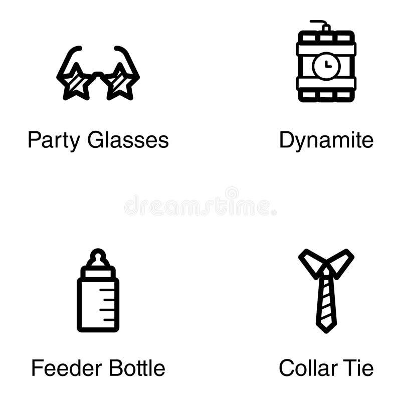 Εικονίδια γραμμών εορτασμού κόμματος απεικόνιση αποθεμάτων