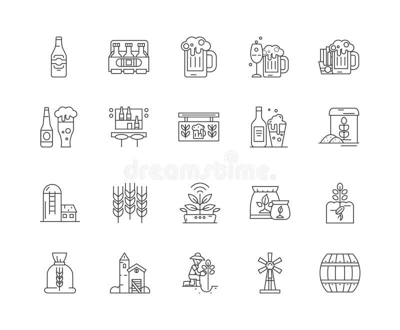 Εικονίδια γραμμών ζυθοποιών, σημάδια, διανυσματικό σύνολο, έννοια απεικόνισης περιλήψεων διανυσματική απεικόνιση
