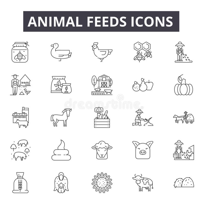 Εικονίδια γραμμών ζωοτροφών για τον Ιστό και το κινητό σχέδιο Σημάδια κτυπήματος Editable Απεικονίσεις έννοιας περιλήψεων ζωοτροφ απεικόνιση αποθεμάτων