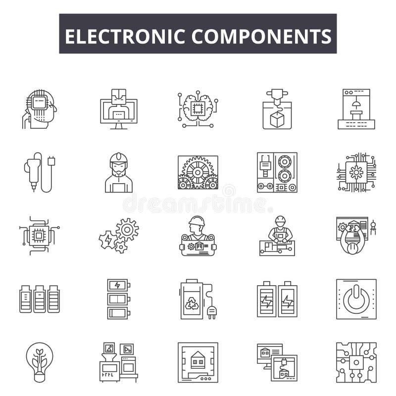Εικονίδια γραμμών ηλεκτρονικών συστατικών, σημάδια, διανυσματικό σύν απεικόνιση αποθεμάτων
