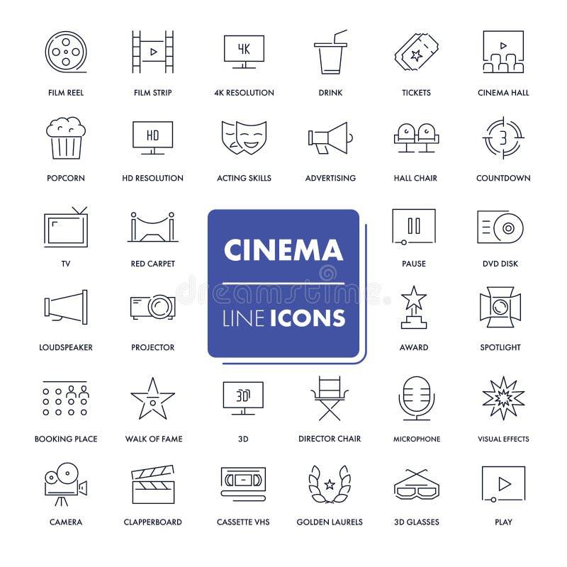Εικονίδια γραμμών καθορισμένα κινηματογράφος διανυσματική απεικόνιση