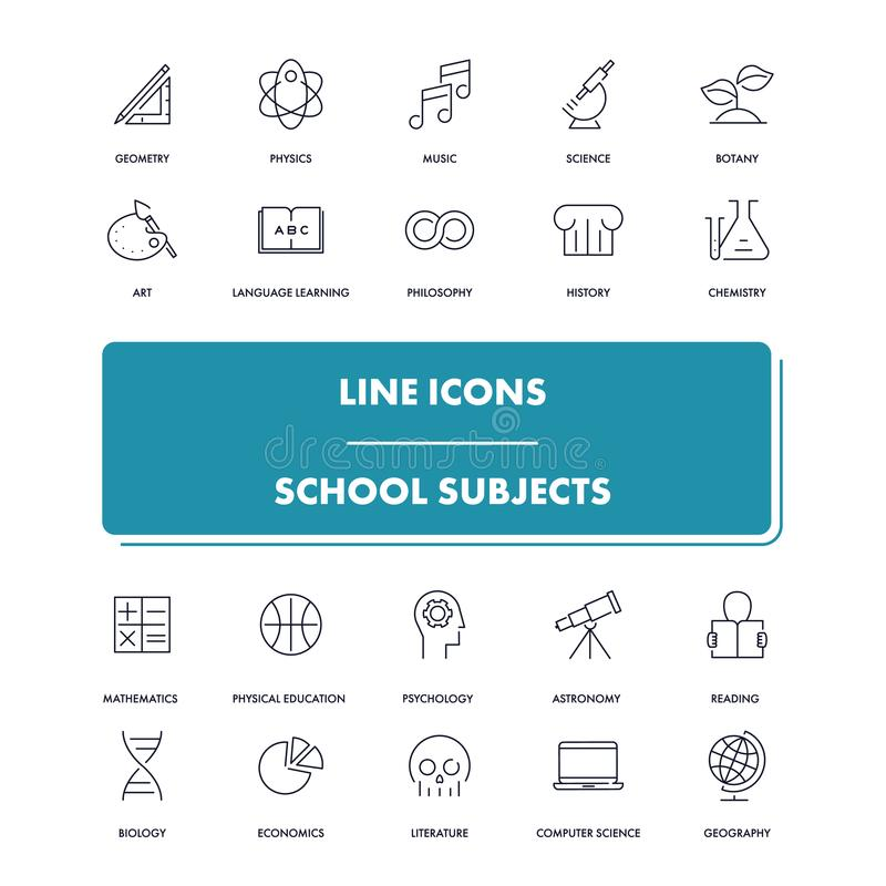 Εικονίδια γραμμών καθορισμένα λευκό σχολικών θεμάτων απομόνωσης ανασκόπησης ελεύθερη απεικόνιση δικαιώματος
