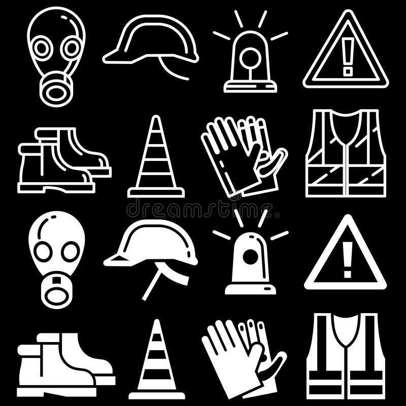 Εικονίδια γραμμών και προσωπικού προστατευτικού εξοπλισμού σκιαγραφιών που τίθενται στο μαύρο υπόβαθρο διανυσματική απεικόνιση