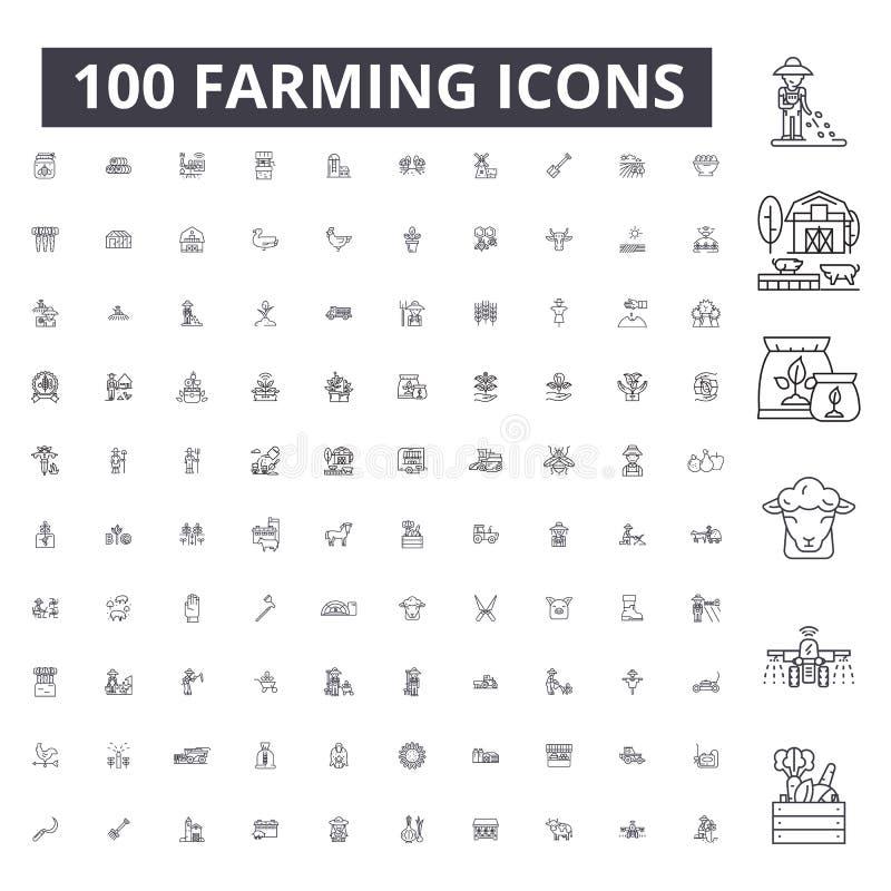 Εικονίδια γραμμών καλλιέργειας editable, 100 διανυσματικό σύνολο, συλλογή Απεικονίσεις περιλήψεων καλλιέργειας μαύρες, σημάδια, σ διανυσματική απεικόνιση