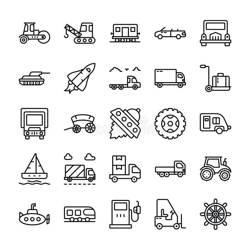 Εικονίδια γραμμών μεταφορών καθορισμένα διανυσματική απεικόνιση