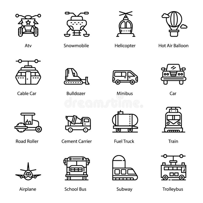 Εικονίδια γραμμών μεταφορών καθορισμένα απεικόνιση αποθεμάτων